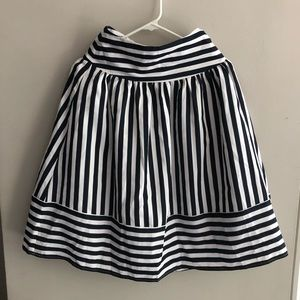 Anthropologie Navy & White Striped Retro Skirt XS